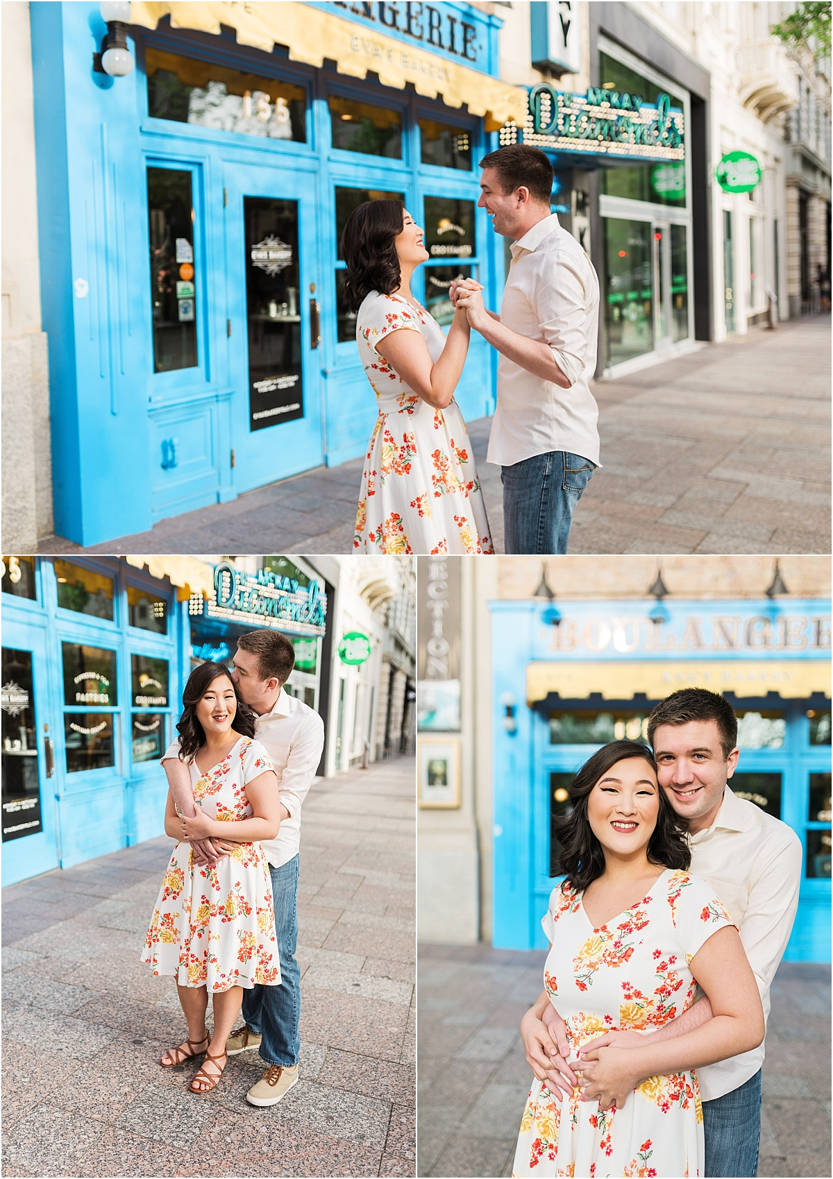 An engagement session in downtown Salt Lake City. The couple is standing in front of a bakery with a french design to it. The couple is hugging, laughing, and smiling at the camera.