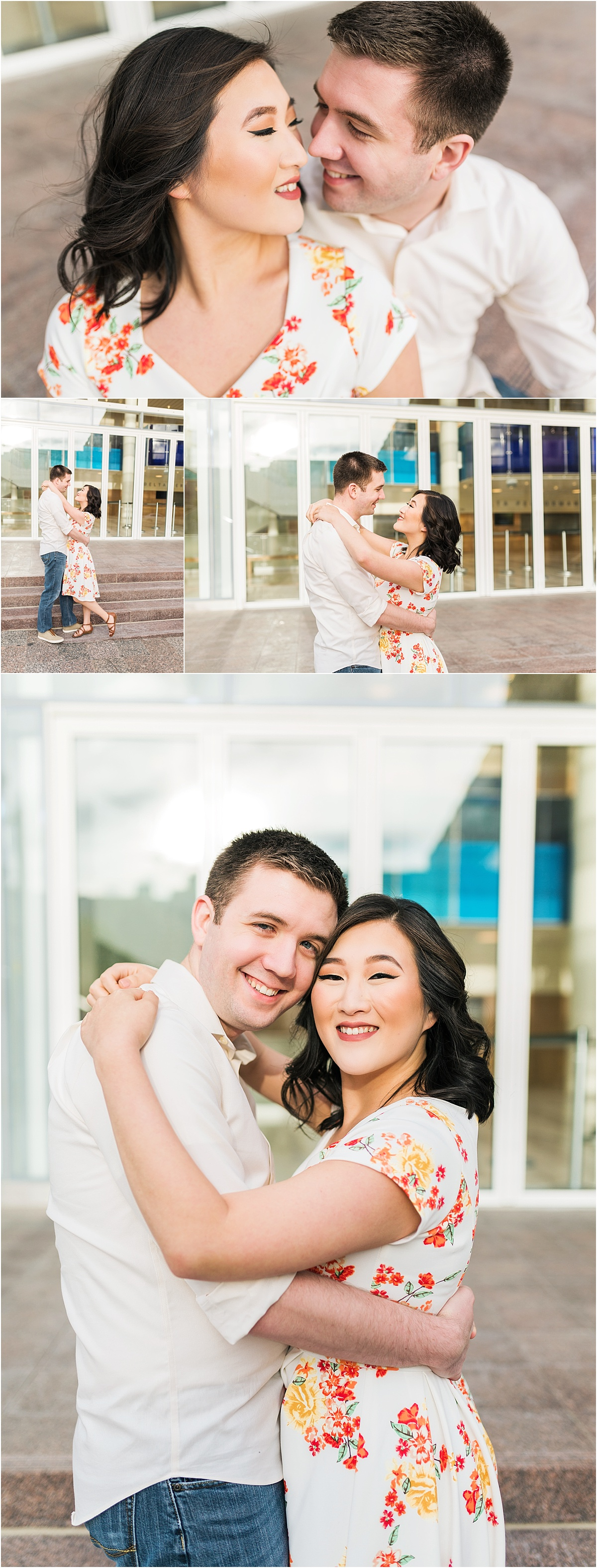 Engagement session photo taken in a downtown city setting. Two people in love, smiling at each other, and hugging.