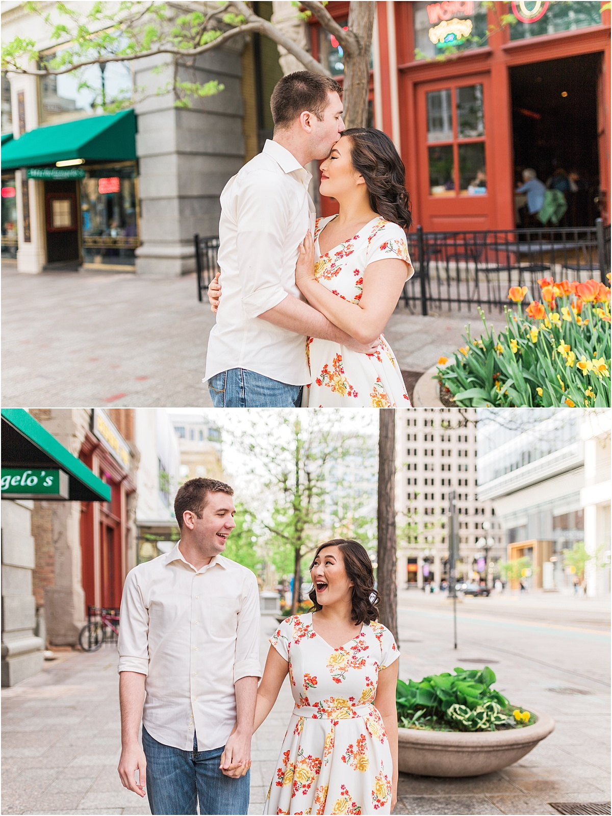 An engagement session in downtown salt lake city. The couple is walking around holding hands, being in love, and kissing.