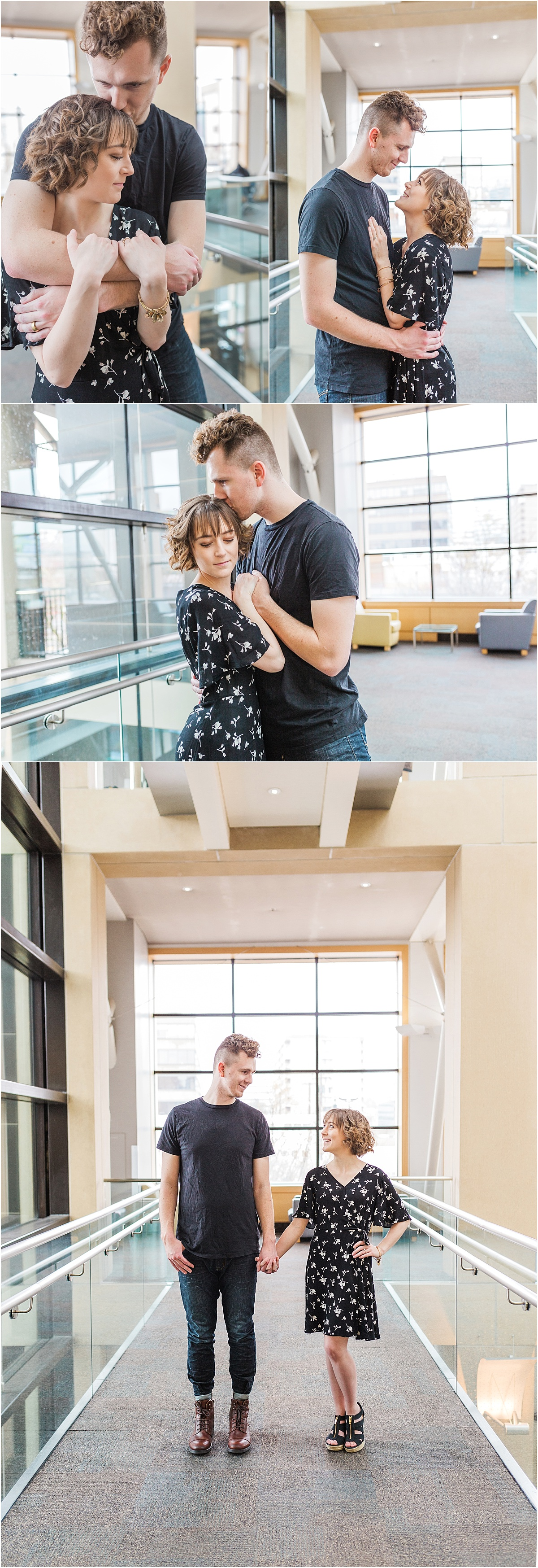 A couple in a modern building with lots of leading lines, sunlight, and architectural elements. The couples is hugging, touching arms, and showing off their love.